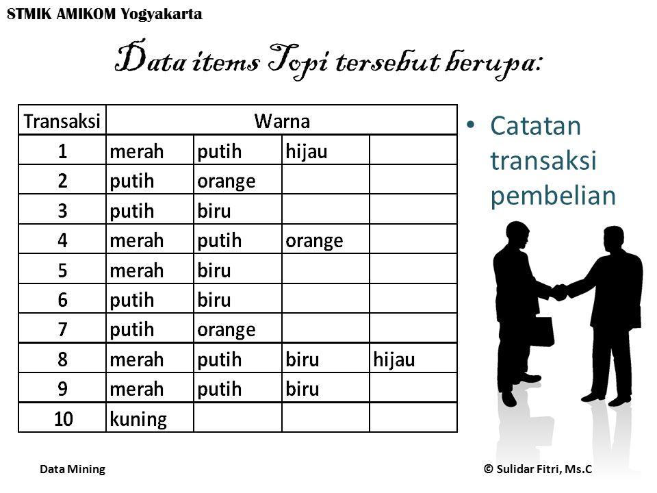 Data Mining © Sulidar Fitri, Ms.C STMIK AMIKOM Yogyakarta Data items Topi tersebut berupa: Catatan transaksi pembelian