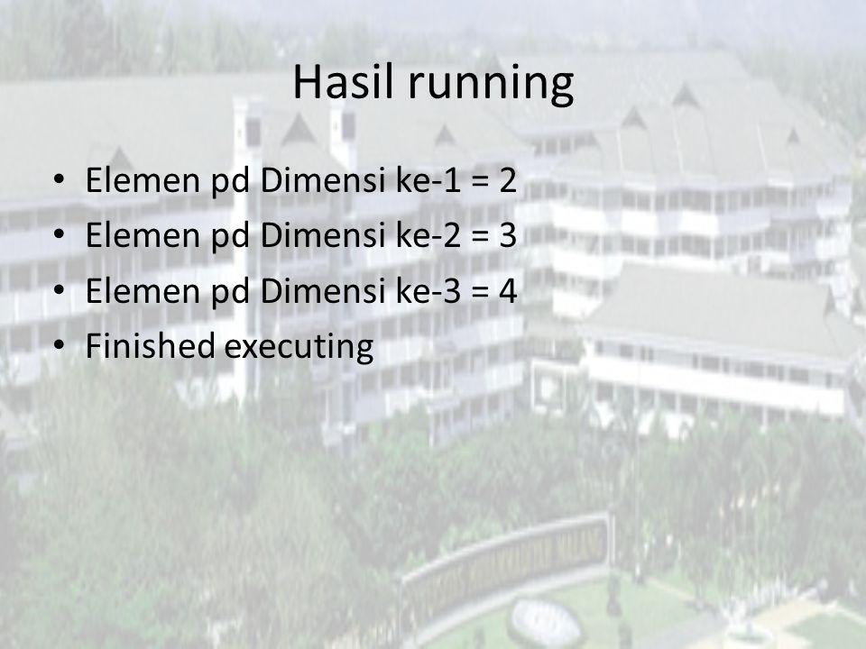 Hasil running Elemen pd Dimensi ke-1 = 2 Elemen pd Dimensi ke-2 = 3 Elemen pd Dimensi ke-3 = 4 Finished executing