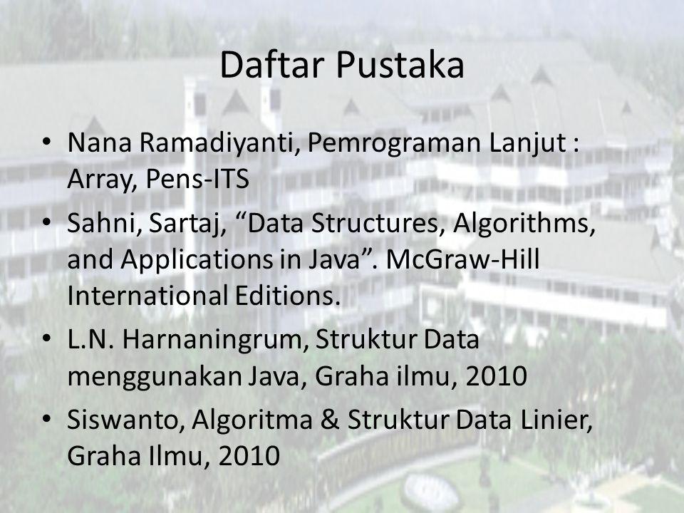 Daftar Pustaka Nana Ramadiyanti, Pemrograman Lanjut : Array, Pens-ITS Sahni, Sartaj, Data Structures, Algorithms, and Applications in Java .