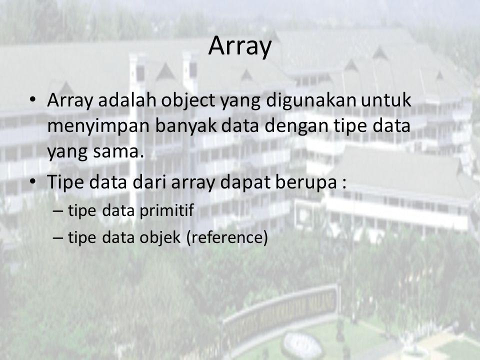 Array 2 bagian penting yang menyusun array : – Index berupa bilangan bulat mulai dari 0-(n-1), digunakan untuk mengakses element.
