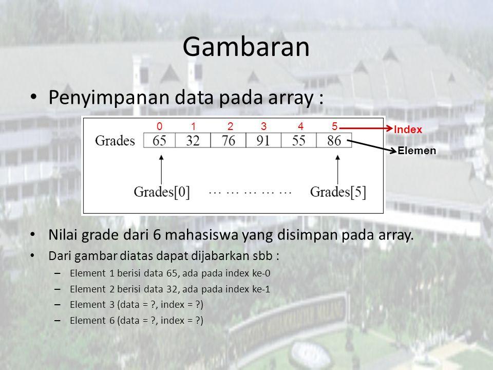 Array Terdapat 3 langkah untuk membuat array: 1.Mendeklarasikan variabel array 2.Memcreate array beserta ukurannya 3.Memberikan sebuah nilai pada setiap element array