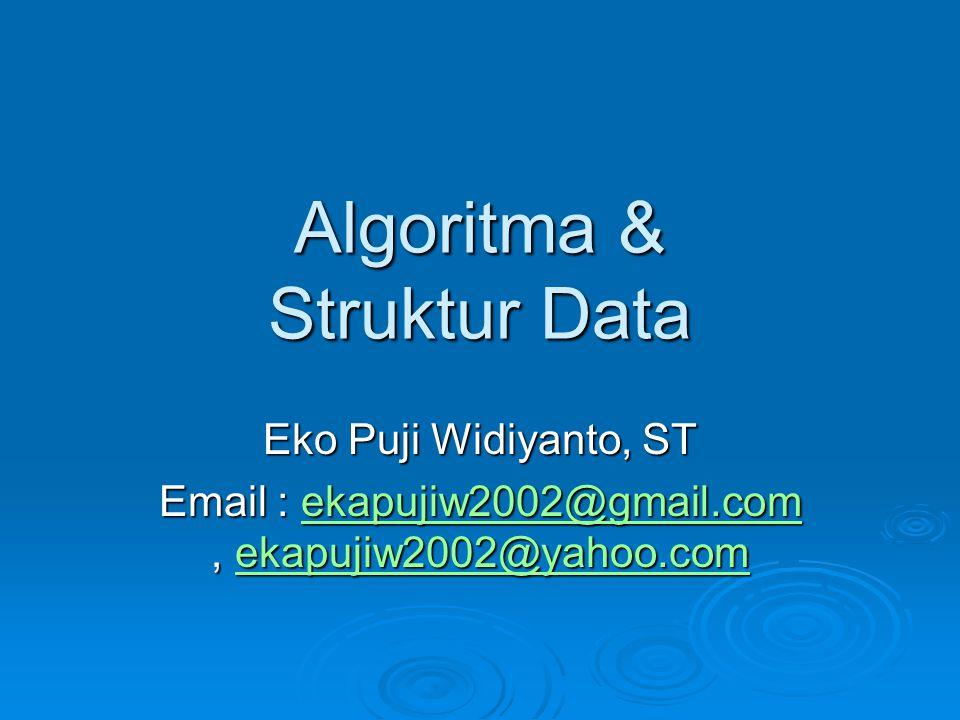 Algoritma & Struktur Data Eko Puji Widiyanto, ST Email : ekapujiw2002@gmail.com, ekapujiw2002@yahoo.com ekapujiw2002@gmail.comekapujiw2002@yahoo.comek