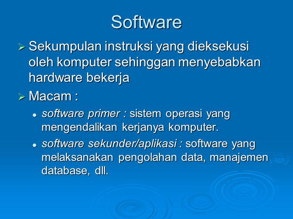 Software  Sekumpulan instruksi yang dieksekusi oleh komputer sehinggan menyebabkan hardware bekerja  Macam : software primer : sistem operasi yang m