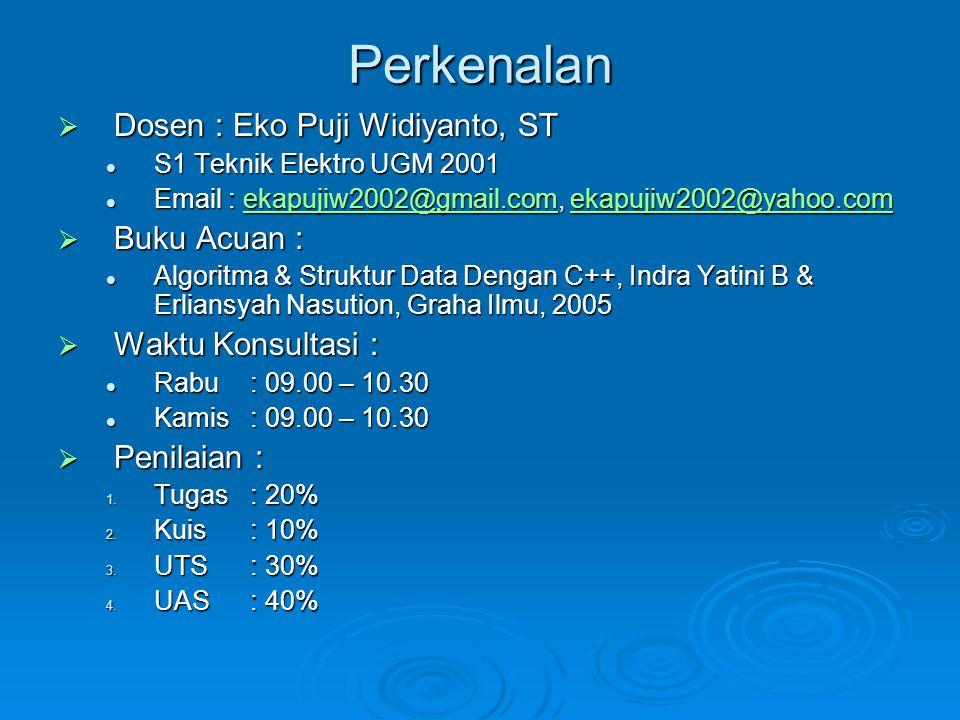 Perkenalan  Dosen : Eko Puji Widiyanto, ST S1 Teknik Elektro UGM 2001 S1 Teknik Elektro UGM 2001 Email : ekapujiw2002@gmail.com, ekapujiw2002@yahoo.c