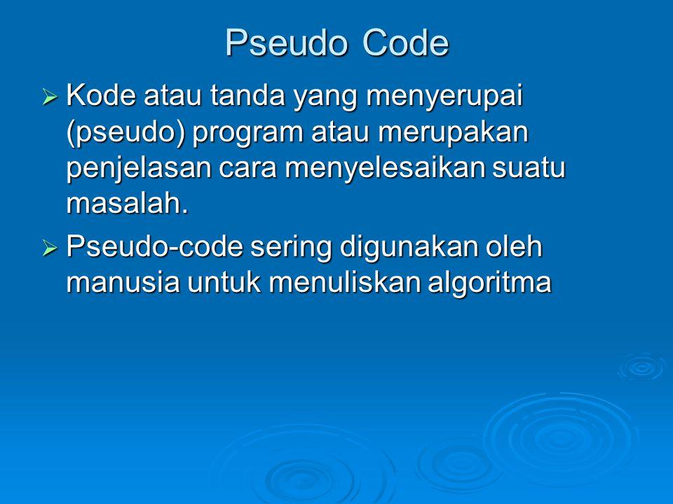 Pseudo Code  Kode atau tanda yang menyerupai (pseudo) program atau merupakan penjelasan cara menyelesaikan suatu masalah.  Pseudo-code sering diguna