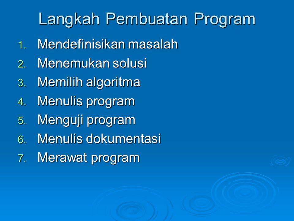 Langkah Pembuatan Program 1. Mendefinisikan masalah 2. Menemukan solusi 3. Memilih algoritma 4. Menulis program 5. Menguji program 6. Menulis dokument