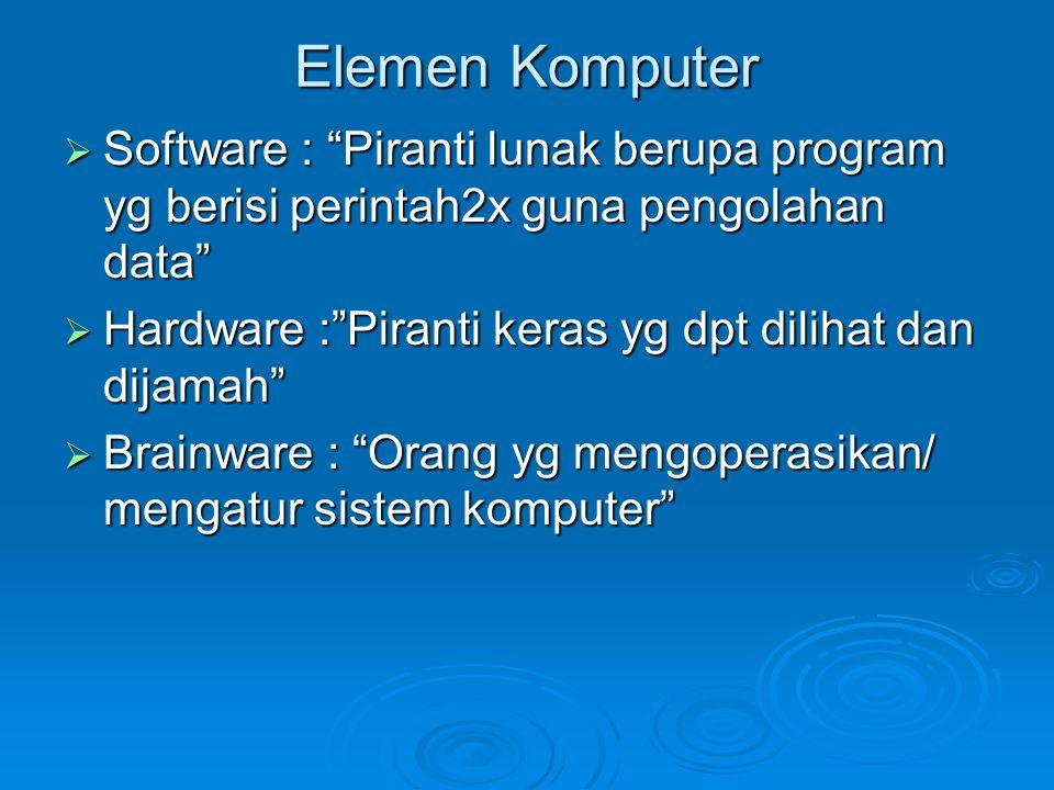 "Elemen Komputer  Software : ""Piranti lunak berupa program yg berisi perintah2x guna pengolahan data""  Hardware :""Piranti keras yg dpt dilihat dan di"