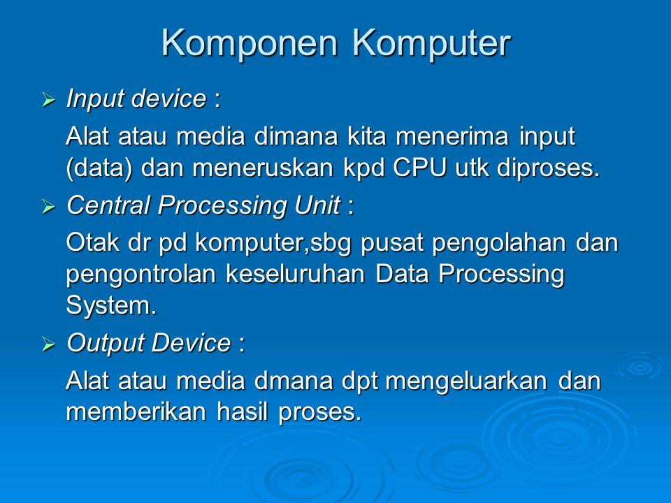 Komponen Komputer  Input device : Alat atau media dimana kita menerima input (data) dan meneruskan kpd CPU utk diproses.  Central Processing Unit :