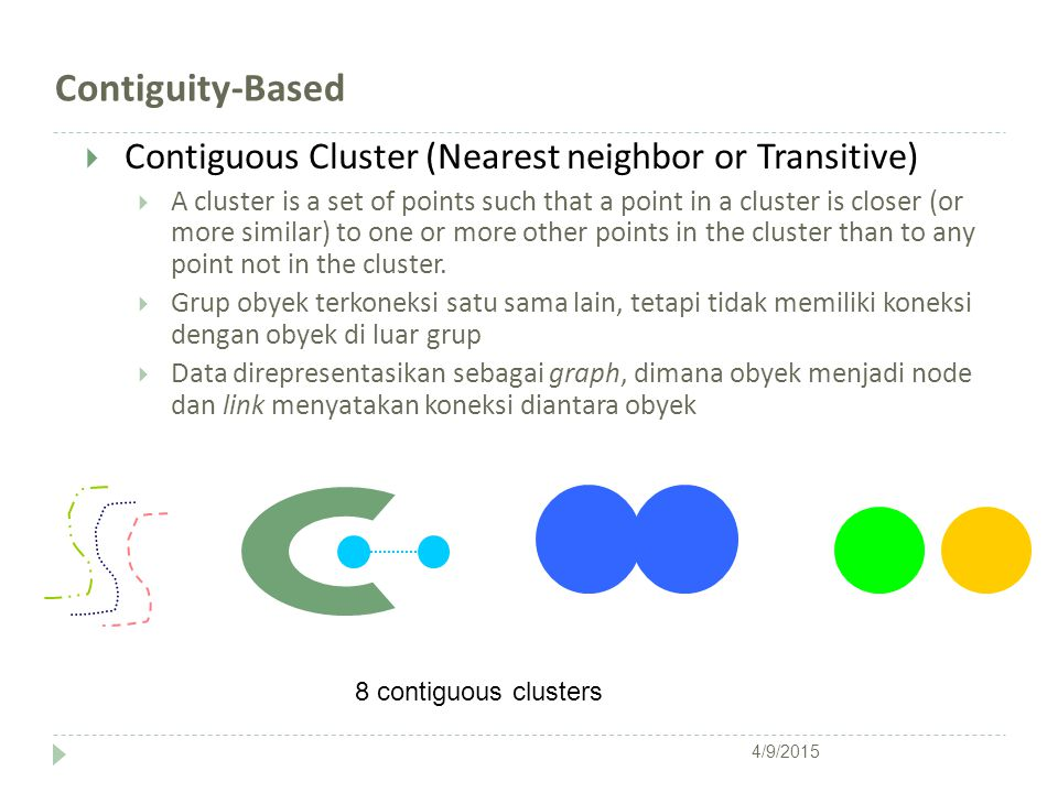 Contiguity-Based  Contiguous Cluster (Nearest neighbor or Transitive)  A cluster is a set of points such that a point in a cluster is closer (or mor
