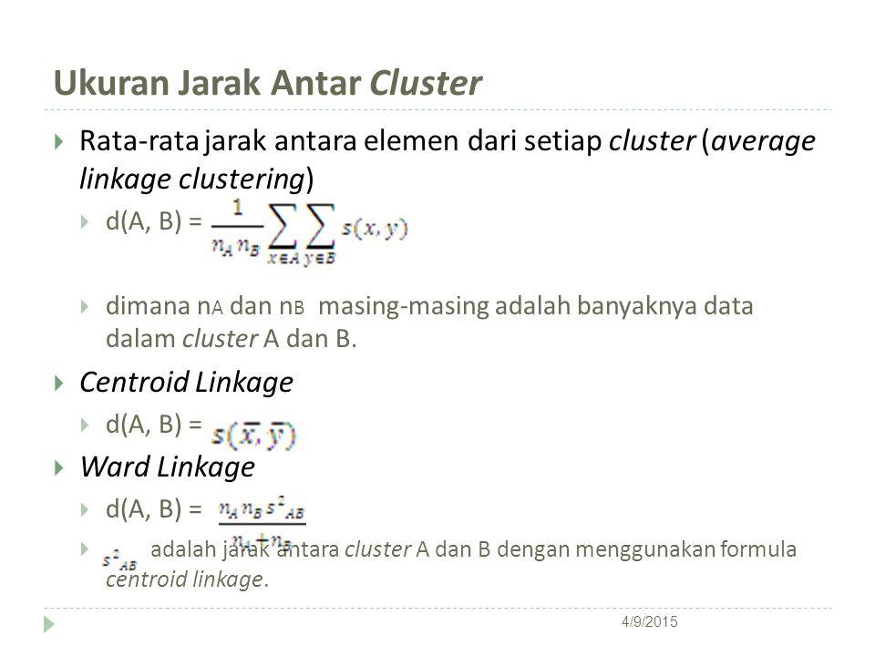 Ukuran Jarak Antar Cluster  Rata-rata jarak antara elemen dari setiap cluster (average linkage clustering)  d(A, B) =  dimana n A dan n B masing-ma