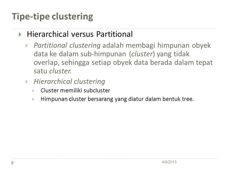 Tipe-tipe clustering  Hierarchical versus Partitional  Partitional clustering adalah membagi himpunan obyek data ke dalam sub-himpunan (cluster) yan