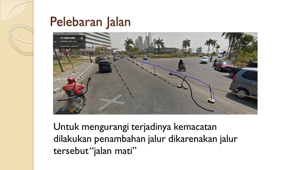 "Untuk mengurangi terjadinya kemacatan dilakukan penambahan jalur dikarenakan jalur tersebut ""jalan mati"" Pelebaran Jalan"