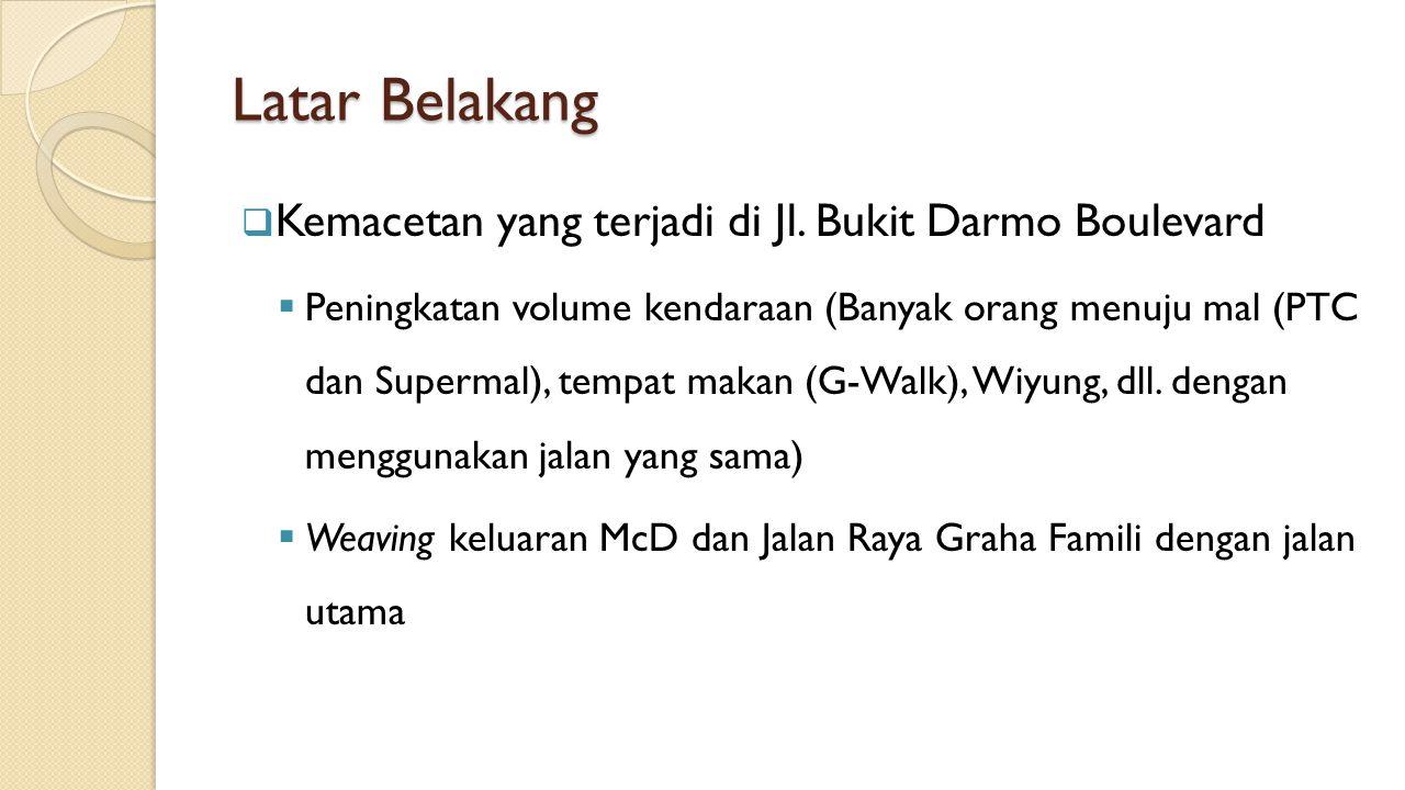 Latar Belakang  Kemacetan yang terjadi di Jl. Bukit Darmo Boulevard  Peningkatan volume kendaraan (Banyak orang menuju mal (PTC dan Supermal), tempa