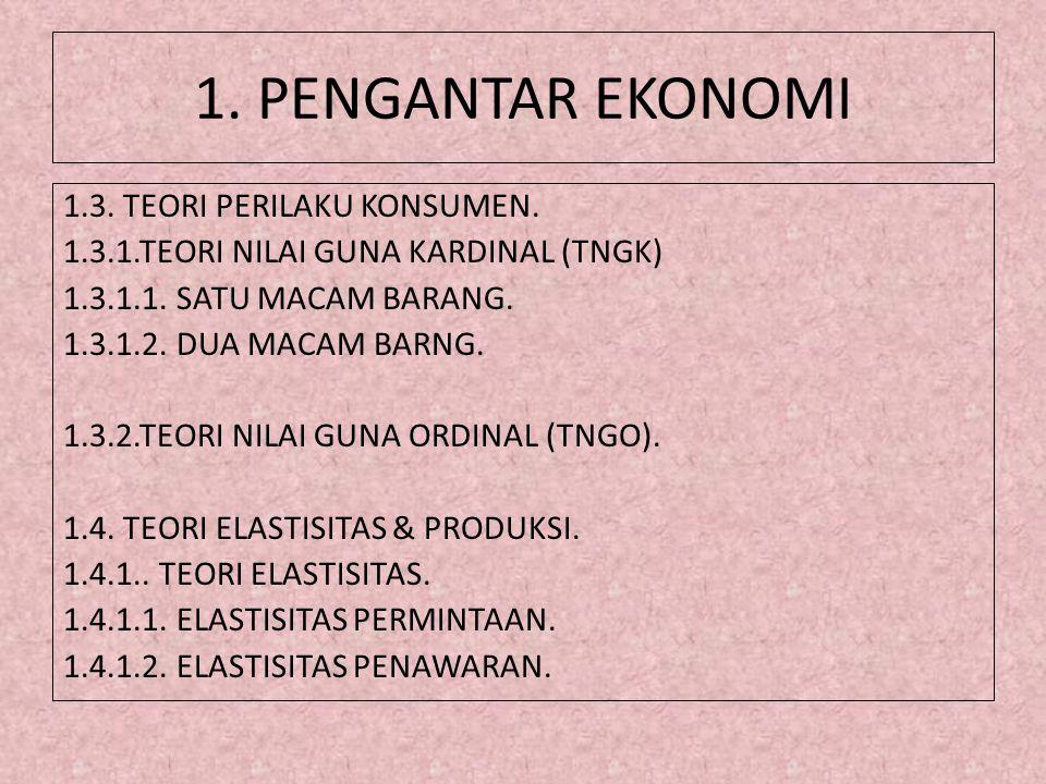 1. PENGANTAR EKONOMI 1.3. TEORI PERILAKU KONSUMEN. 1.3.1.TEORI NILAI GUNA KARDINAL (TNGK) 1.3.1.1. SATU MACAM BARANG. 1.3.1.2. DUA MACAM BARNG. 1.3.2.
