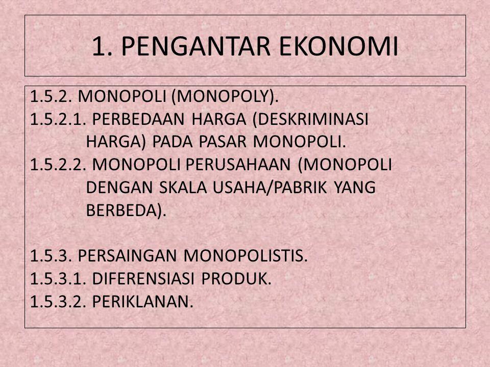1. PENGANTAR EKONOMI 1.5.2. MONOPOLI (MONOPOLY). 1.5.2.1. PERBEDAAN HARGA (DESKRIMINASI HARGA) PADA PASAR MONOPOLI. 1.5.2.2. MONOPOLI PERUSAHAAN (MONO