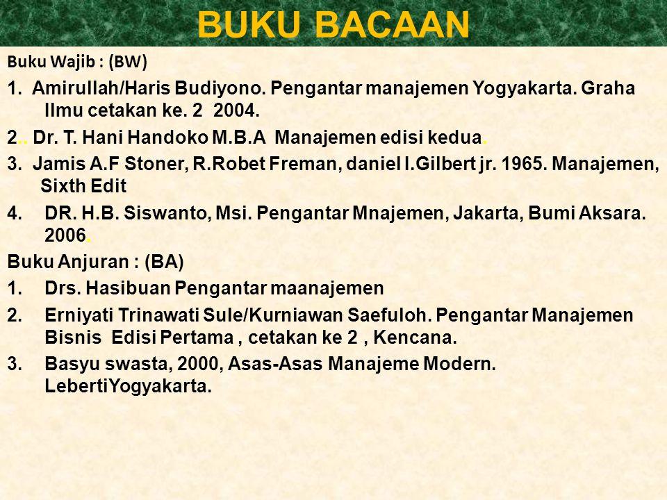 BUKU BACAAN Buku Wajib : (BW) 1.Amirullah/Haris Budiyono.