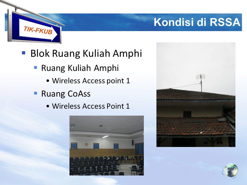 TIK-FKUB Kondisi di RSSA  Blok Ruang Kuliah Amphi  Ruang Kuliah Amphi Wireless Access point 1  Ruang CoAss Wireless Access Point 1