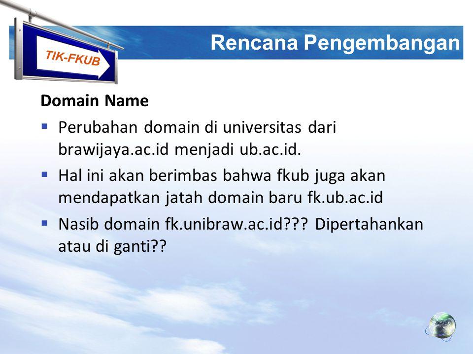 TIK-FKUB Rencana Pengembangan Domain Name  Perubahan domain di universitas dari brawijaya.ac.id menjadi ub.ac.id.  Hal ini akan berimbas bahwa fkub