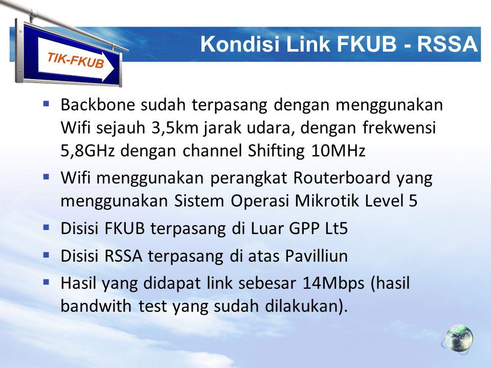 TIK-FKUB Kondisi Link FKUB - RSSA  Di atas paviliun dipasang Pemancar Utama (Access Point Central) yang menyebarkan koneksi ke seluruh blok lab yang ada  Pemancar utama ini sementara difungsikan sebagai Hotspot Server di lingkup RSSA  AP Centrall memancar dengan Frek 2,4GHz dengan channel Shifting 10Mhz ( standar 20Mhz)  Voip sudah terpasang di PABX FKUB (no dial 400 dan 410), dan 3 node di sisi RSSA ( Anestesi 470, Kulit 480, Neuro 490 ) dengan hasil yang memuaskan (Bening).