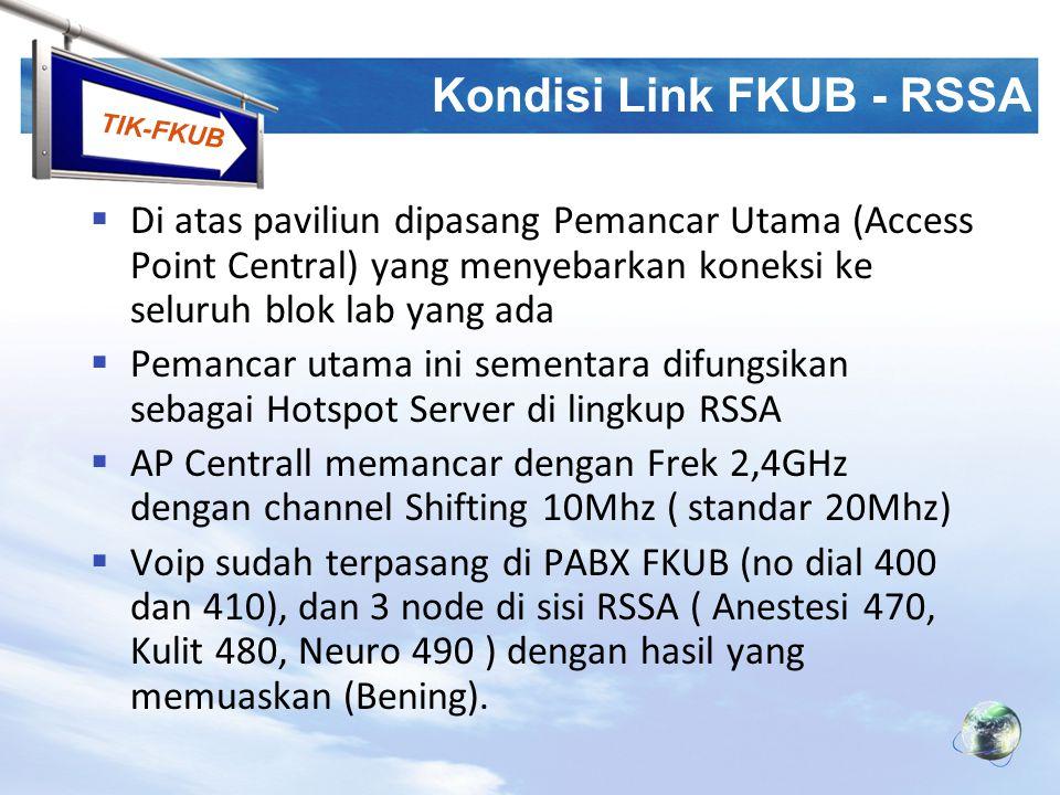 TIK-FKUB Kondisi Link FKUB - RSSA  Di atas paviliun dipasang Pemancar Utama (Access Point Central) yang menyebarkan koneksi ke seluruh blok lab yang