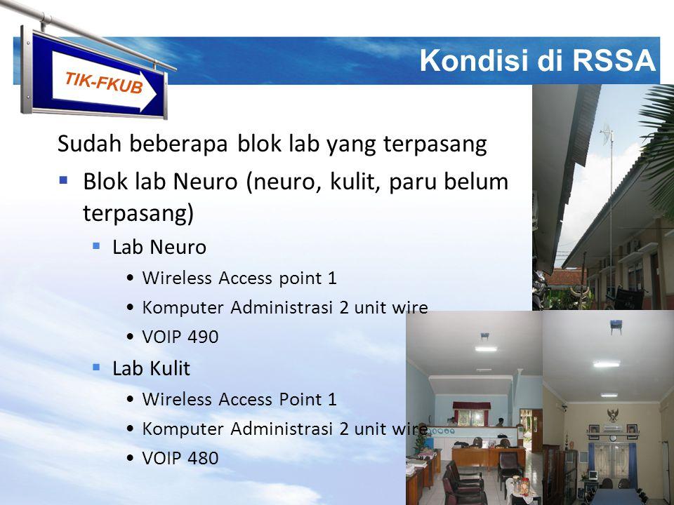 TIK-FKUB Kondisi di RSSA  Blok lab Obgyn (obgyn, anestesi)  Lab Obgyn Wireless Access point 2 Komputer PPDS 2 unit wire  Lab Anestesi Wireless Access Point 1 Komputer Administrasi 2 unit wire VOIP 470