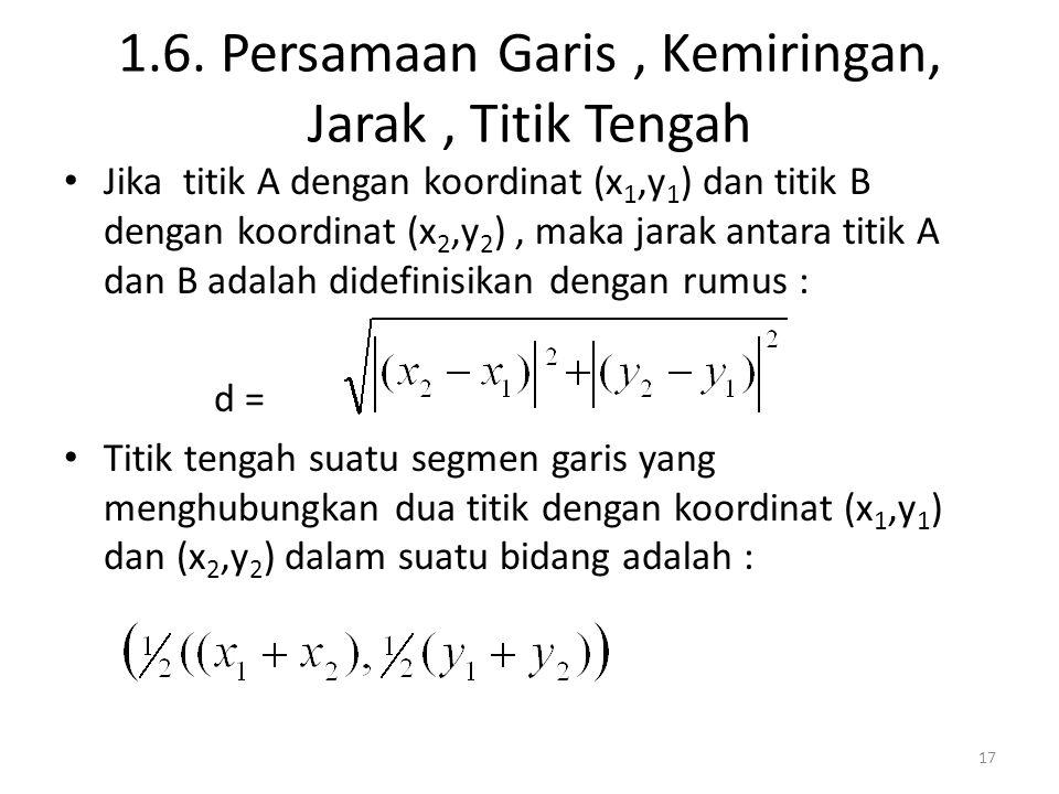 1.6. Persamaan Garis, Kemiringan, Jarak, Titik Tengah Jika titik A dengan koordinat (x 1,y 1 ) dan titik B dengan koordinat (x 2,y 2 ), maka jarak ant