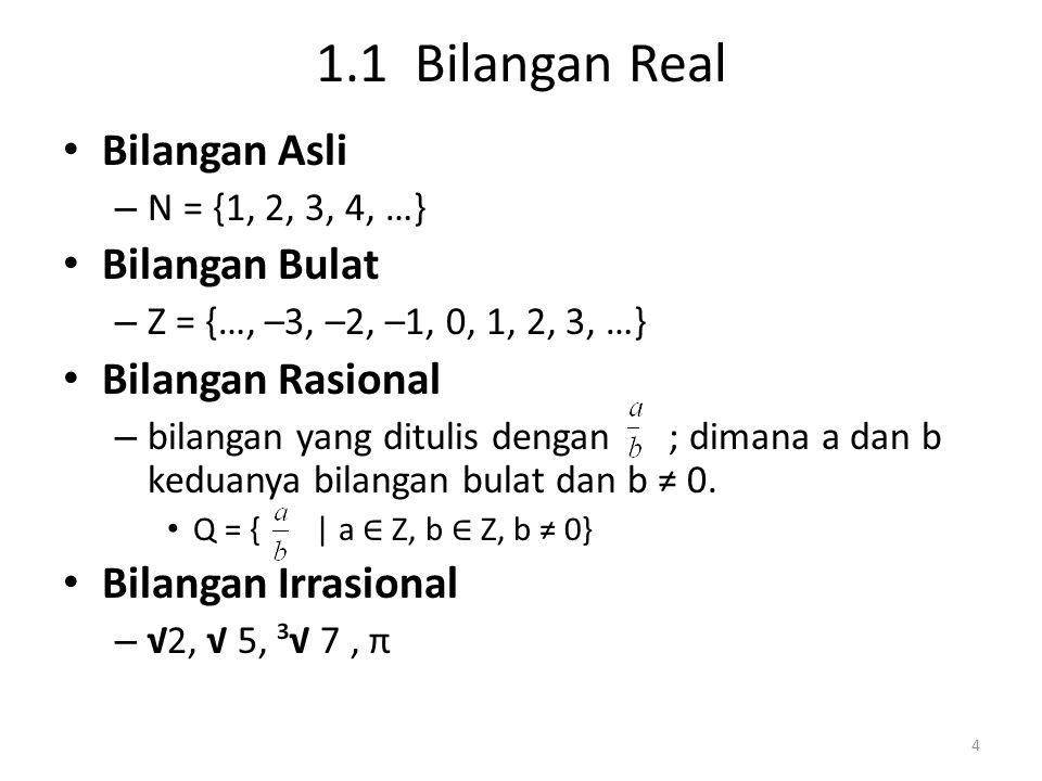 1.1 Bilangan Real Bilangan Asli – N = {1, 2, 3, 4, …} Bilangan Bulat – Z = {…, –3, –2, –1, 0, 1, 2, 3, …} Bilangan Rasional – bilangan yang ditulis de