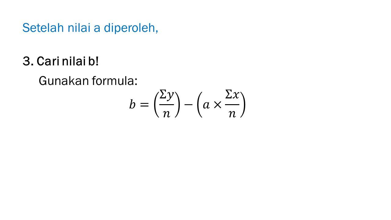 Setelah nilai a diperoleh, 3. Cari nilai b!