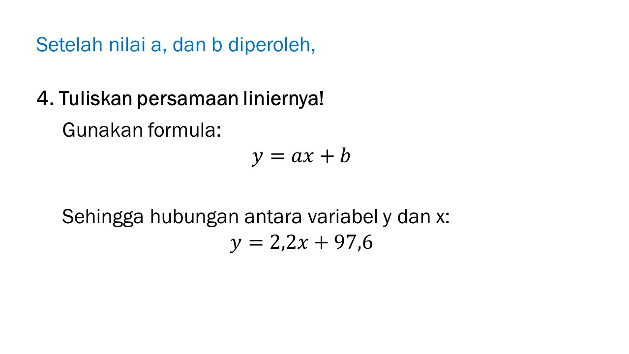 Setelah nilai a, dan b diperoleh, 4. Tuliskan persamaan liniernya!