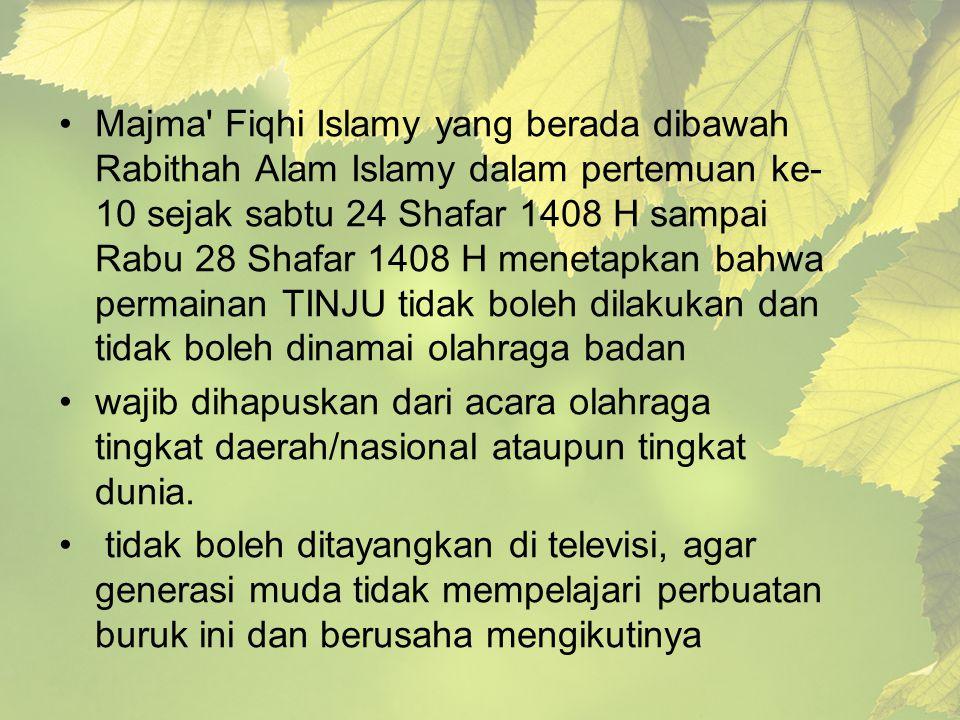 Majma' Fiqhi Islamy yang berada dibawah Rabithah Alam Islamy dalam pertemuan ke- 10 sejak sabtu 24 Shafar 1408 H sampai Rabu 28 Shafar 1408 H menetapk
