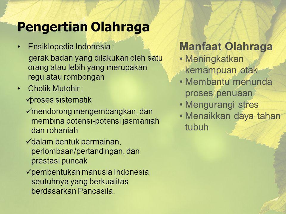 Pengertian Olahraga Ensiklopedia Indonesia : gerak badan yang dilakukan oleh satu orang atau lebih yang merupakan regu atau rombongan Cholik Mutohir :