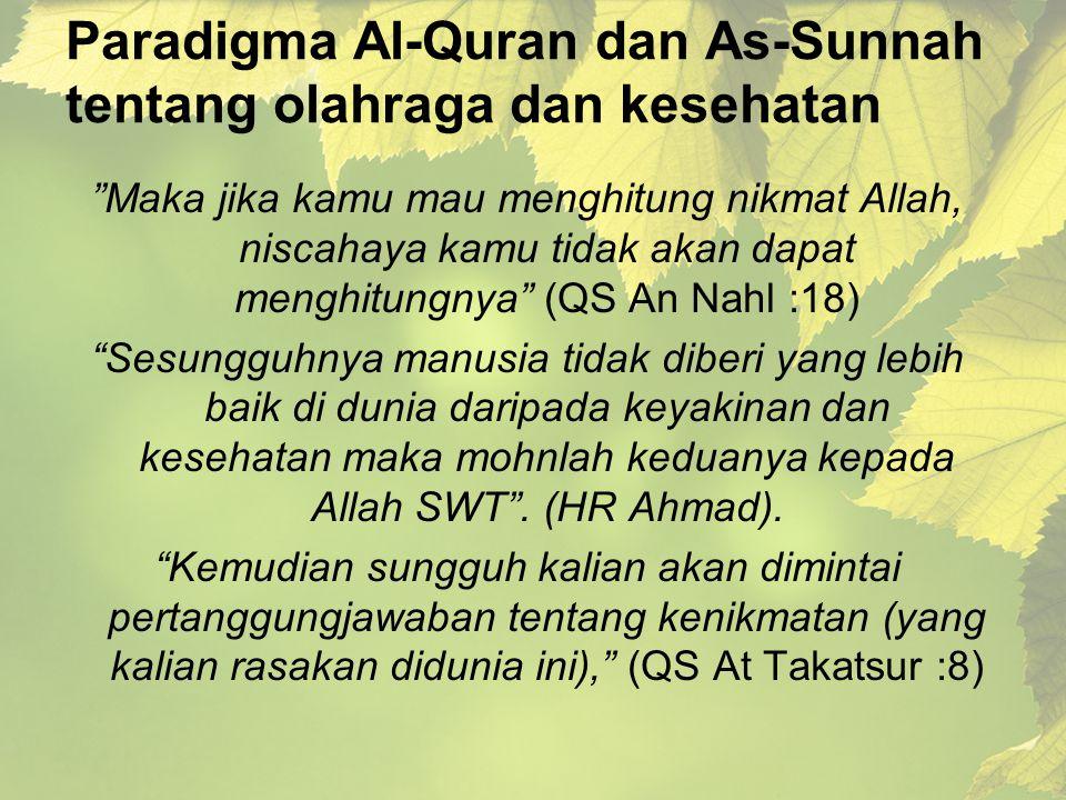 """Paradigma Al-Quran dan As-Sunnah tentang olahraga dan kesehatan """"Maka jika kamu mau menghitung nikmat Allah, niscahaya kamu tidak akan dapat menghitun"""