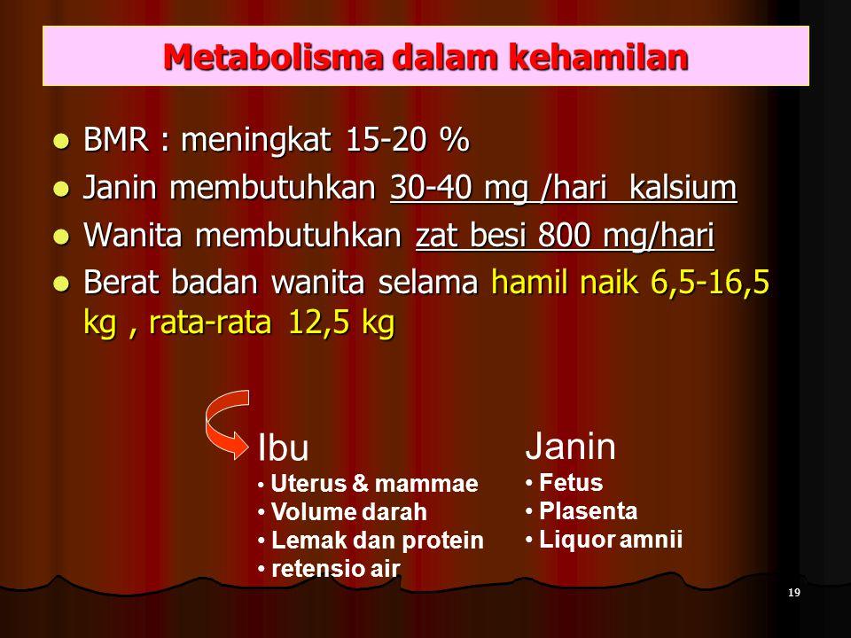 Metabolisma dalam kehamilan BMR : meningkat 15-20 % BMR : meningkat 15-20 % Janin membutuhkan 30-40 mg /hari kalsium Janin membutuhkan 30-40 mg /hari kalsium Wanita membutuhkan zat besi 800 mg/hari Wanita membutuhkan zat besi 800 mg/hari Berat badan wanita selama hamil naik 6,5-16,5 kg, rata-rata 12,5 kg Berat badan wanita selama hamil naik 6,5-16,5 kg, rata-rata 12,5 kg Ibu Uterus & mammae Volume darah Lemak dan protein retensio air Janin Fetus Plasenta Liquor amnii 19