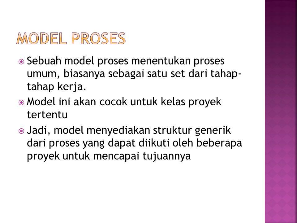  Sebuah model proses menentukan proses umum, biasanya sebagai satu set dari tahap- tahap kerja.