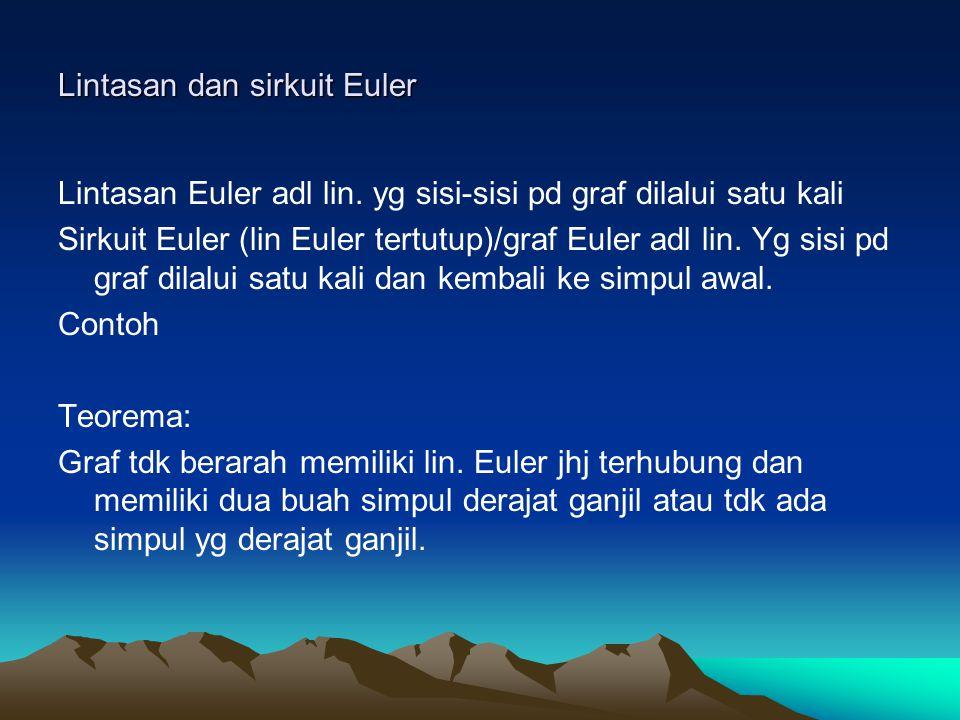 Lintasan dan sirkuit Euler Lintasan Euler adl lin.