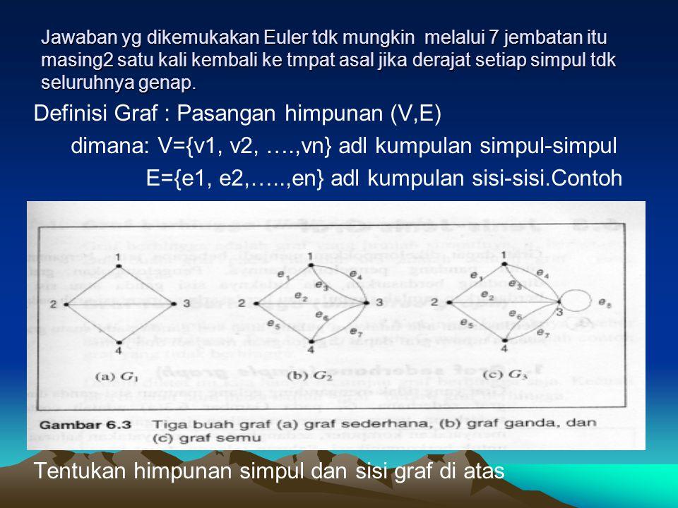Jawaban yg dikemukakan Euler tdk mungkin melalui 7 jembatan itu masing2 satu kali kembali ke tmpat asal jika derajat setiap simpul tdk seluruhnya genap.