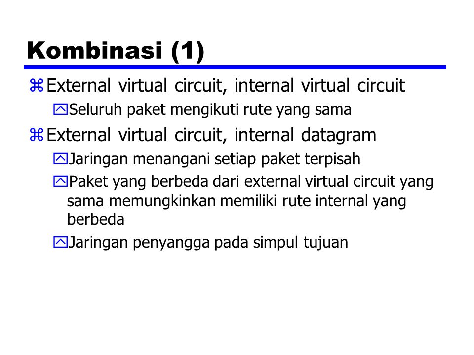 Kombinasi (1) zExternal virtual circuit, internal virtual circuit ySeluruh paket mengikuti rute yang sama zExternal virtual circuit, internal datagram