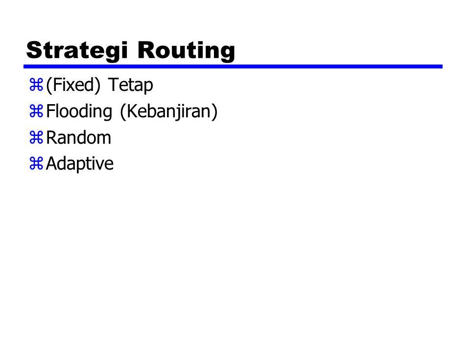 Strategi Routing z(Fixed) Tetap zFlooding (Kebanjiran) zRandom zAdaptive