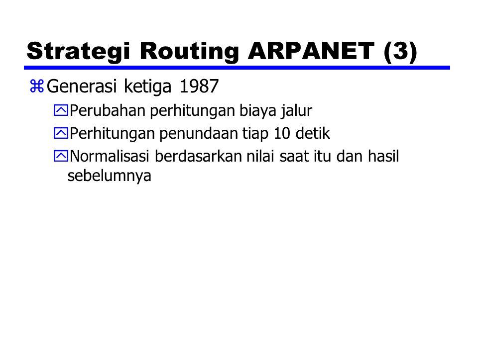 Strategi Routing ARPANET (3) zGenerasi ketiga 1987 yPerubahan perhitungan biaya jalur yPerhitungan penundaan tiap 10 detik yNormalisasi berdasarkan ni
