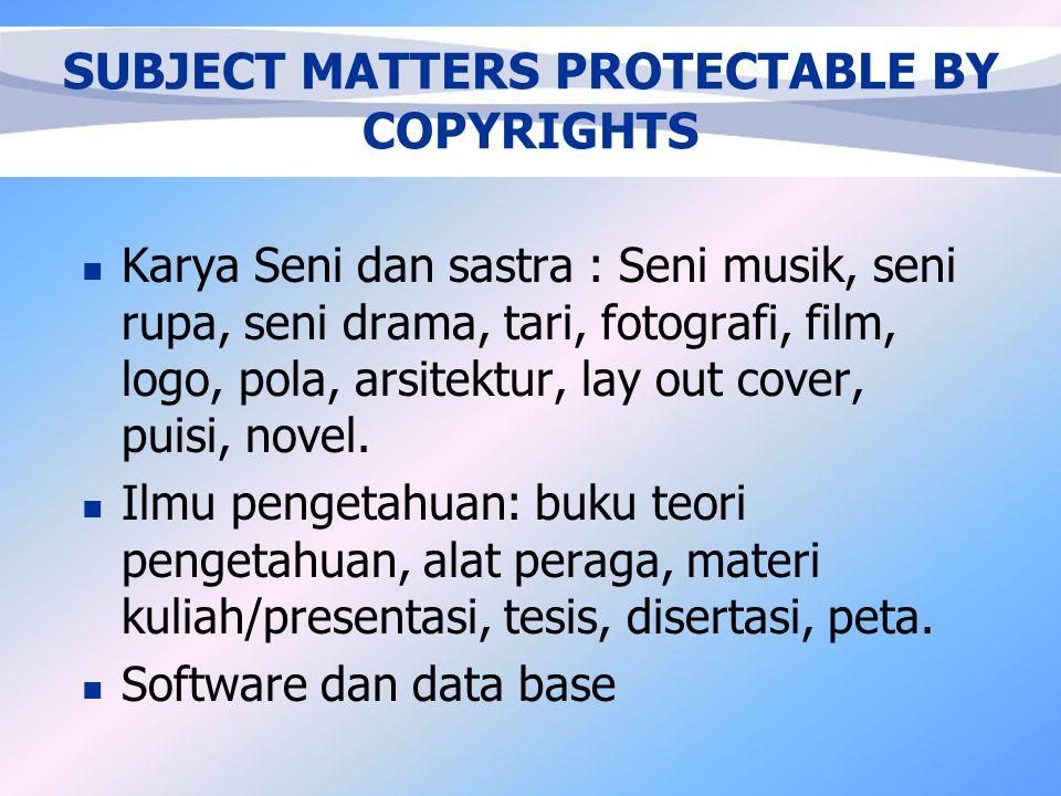 HAK CIPTA (COPYRIGHTS) Hak Eksklusif bagi pencipta (penerima hak) untuk mengumumkan atau memperbanyak Ciptaannya ataupun memberi izin untuk itu dengan tidak mengurangi batasan menurut aturan Perundang-undangan yang berlaku .