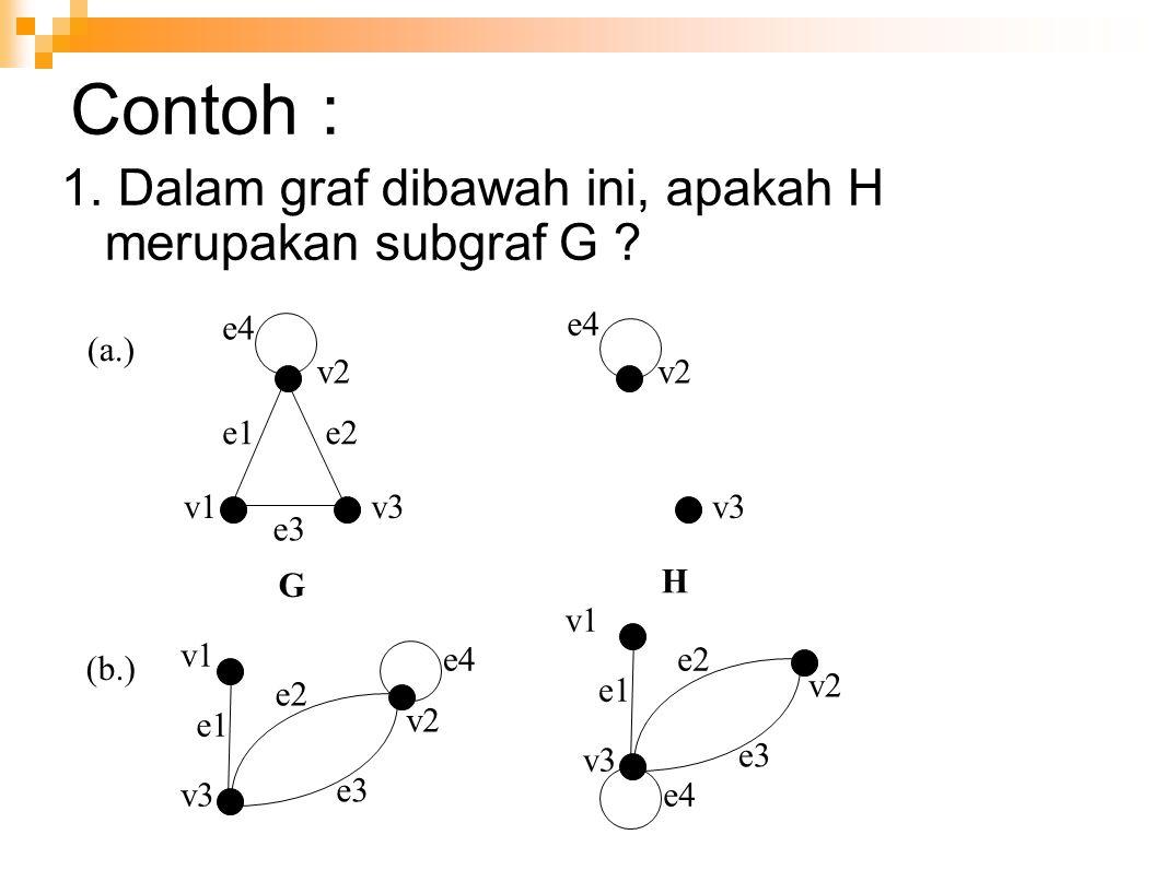 Contoh : 1. Dalam graf dibawah ini, apakah H merupakan subgraf G ? v1 v2 v3 e1e2 e3 e4 (a.) G v2 v3 e4 H v1 v2 v3 e1 e2 e3 e4 v1 v2 v3 e1 e2 e3 e4 (b.