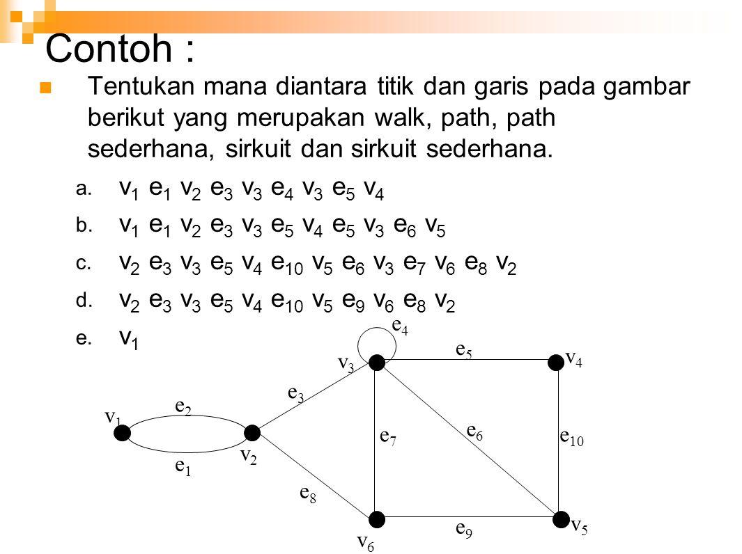 Contoh : Tentukan mana diantara titik dan garis pada gambar berikut yang merupakan walk, path, path sederhana, sirkuit dan sirkuit sederhana. a. v 1 e