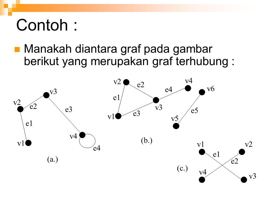 Contoh : Manakah diantara graf pada gambar berikut yang merupakan graf terhubung : (b.) (c.) (a.) v1 e1 v2 e2 v3 e3 v4 e4 v1 v2 e1 e2 e3 v3 e4 v4 v5 e