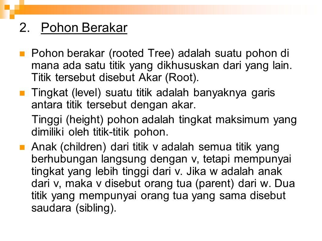2. Pohon Berakar Pohon berakar (rooted Tree) adalah suatu pohon di mana ada satu titik yang dikhususkan dari yang lain. Titik tersebut disebut Akar (R