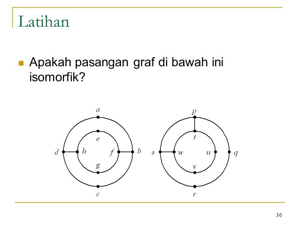 36 Latihan Apakah pasangan graf di bawah ini isomorfik?