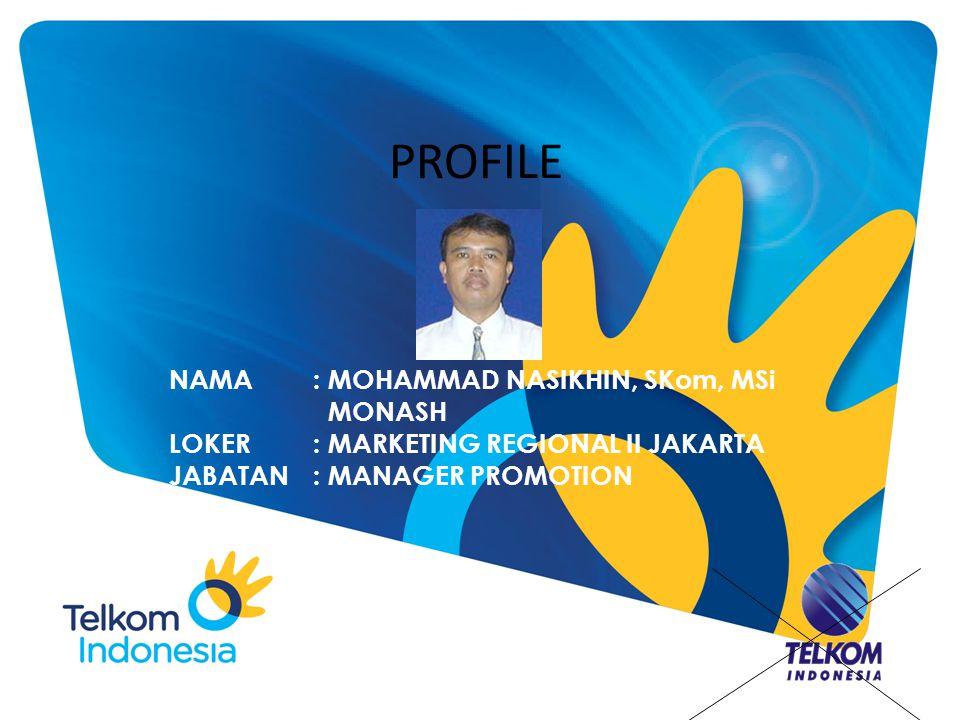PROFILE NAMA: MOHAMMAD NASIKHIN, SKom, MSi MONASH LOKER: MARKETING REGIONAL II JAKARTA JABATAN: MANAGER PROMOTION