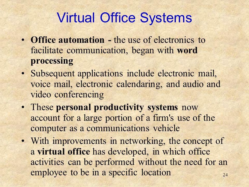 24 Virtual Office Systems Office automation - the use of electronics to facilitate communication, began with word processing Subsequent applications i
