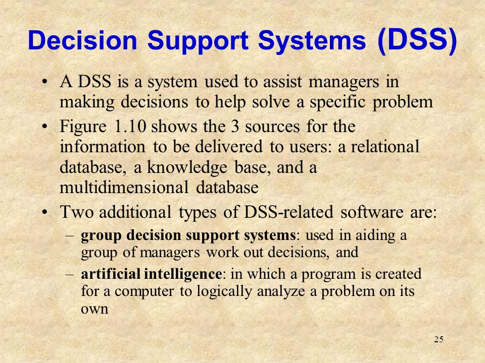 25 Decision Support Systems (DSS) A DSS is a system used to assist managers in making decisions to help solve a specific problem Figure 1.10 shows the