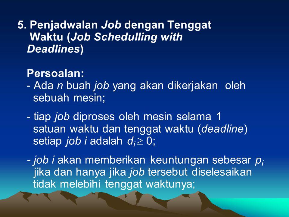 5. Penjadwalan Job dengan Tenggat Waktu (Job Schedulling with Deadlines) Persoalan: - Ada n buah job yang akan dikerjakan oleh sebuah mesin; - tiap jo