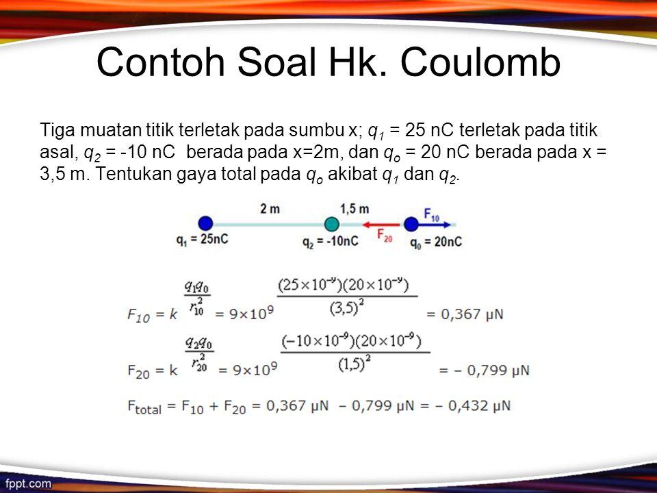 Contoh Soal Hk. Coulomb Tiga muatan titik terletak pada sumbu x; q 1 = 25 nC terletak pada titik asal, q 2 = -10 nC berada pada x=2m, dan q o = 20 nC